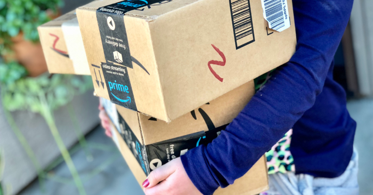 carrying amazon prime shipping boxes