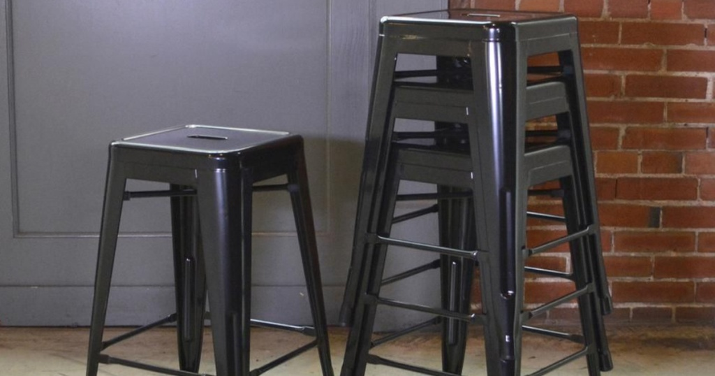 black colored Metal Bar Stools