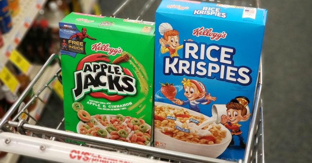 Apple Jacks and Rice Krispies cereal in CVS cart