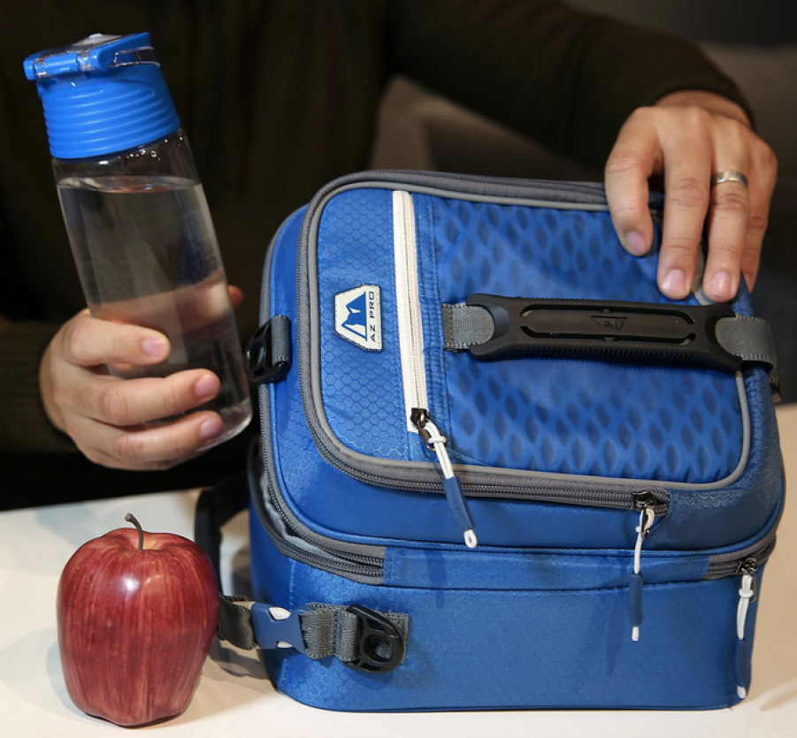 blue Arctic Zone Pro Lunch Bag with water bottle and apple