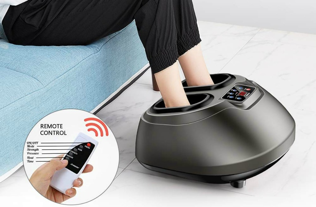 woman using Arealer Foot Massager