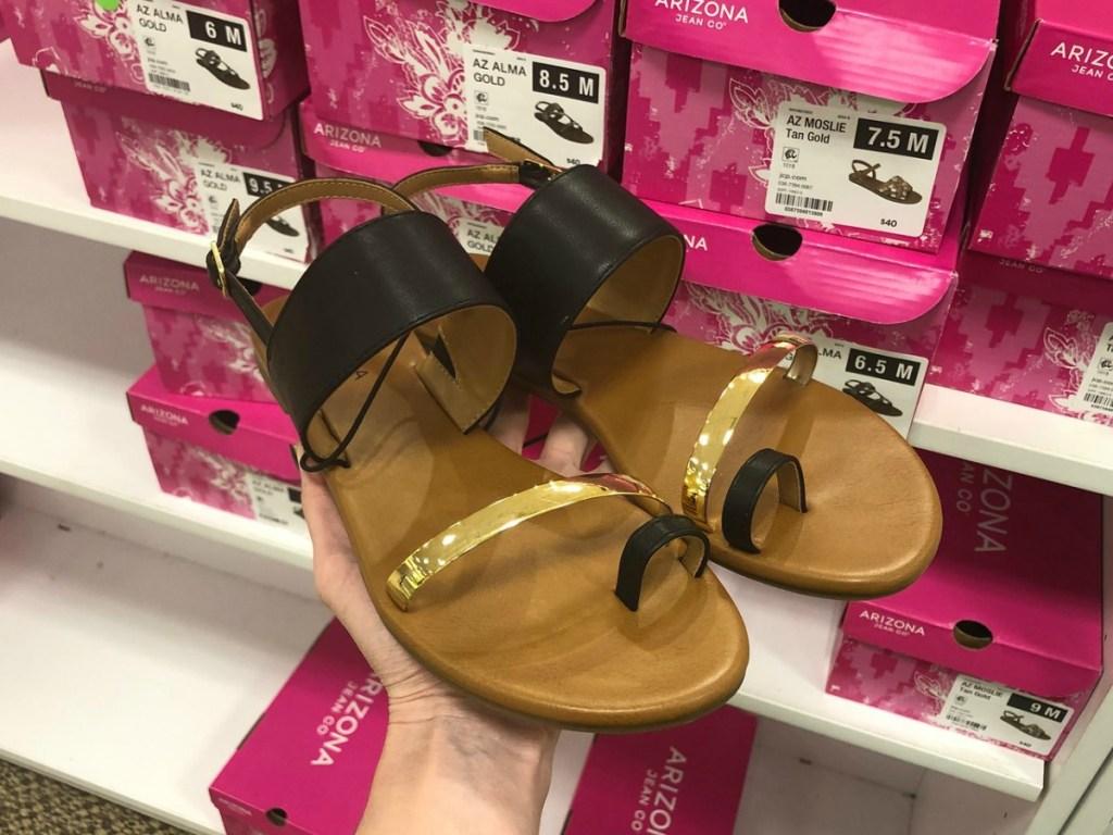 Arizona Torres Sandals held up in shoe aisle