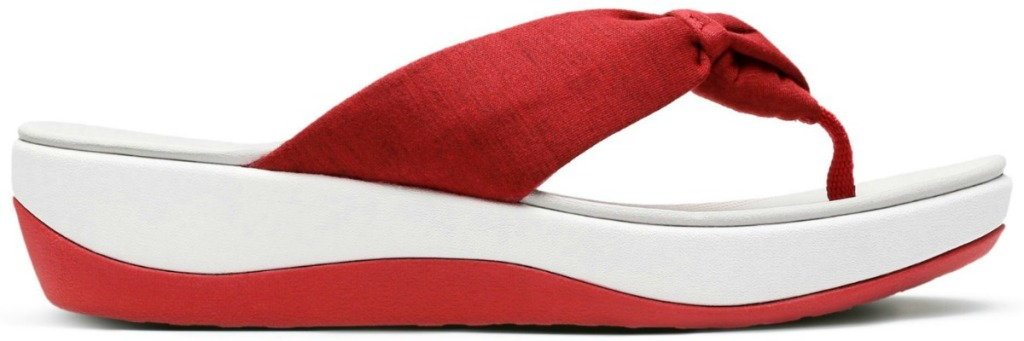 red and white women's sandals