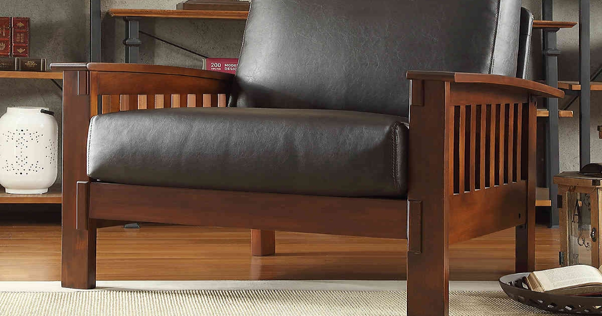 brown, leather and wood arm chair