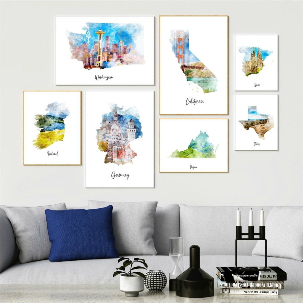 Watercolor Maps hung on wall
