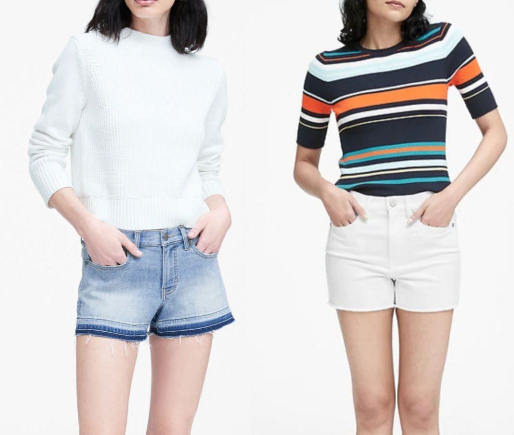 Two woman wearing banana republic shorts