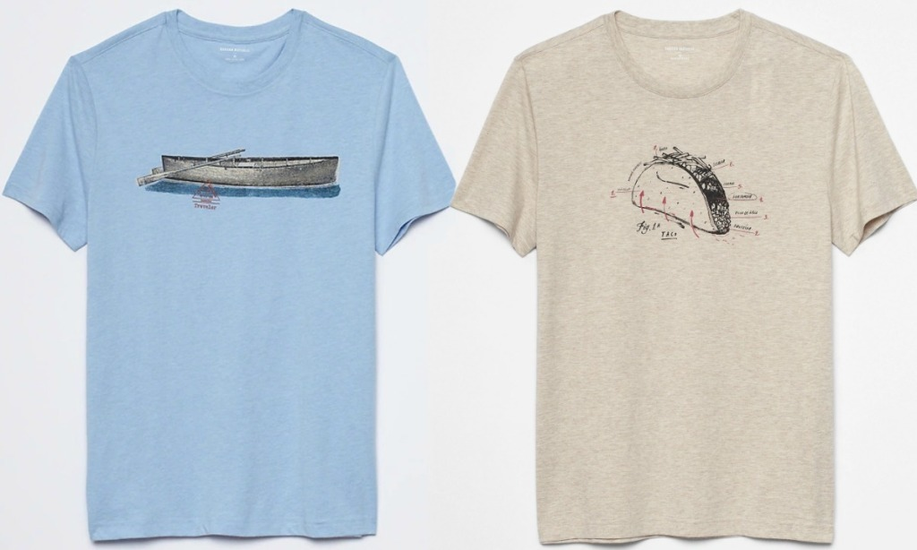 Two graphic tees from banana republic one in blue one in beige