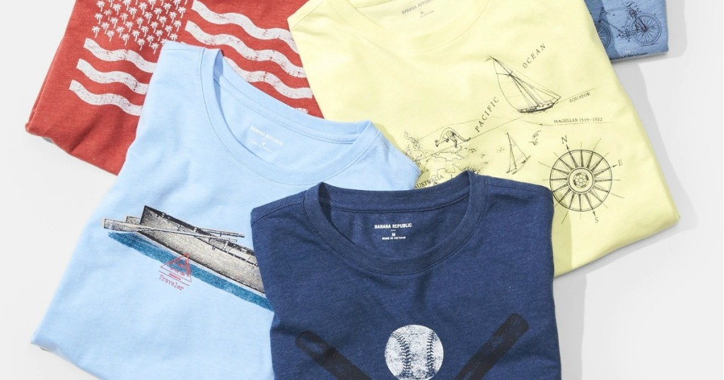 Stack of banana republic tees for men