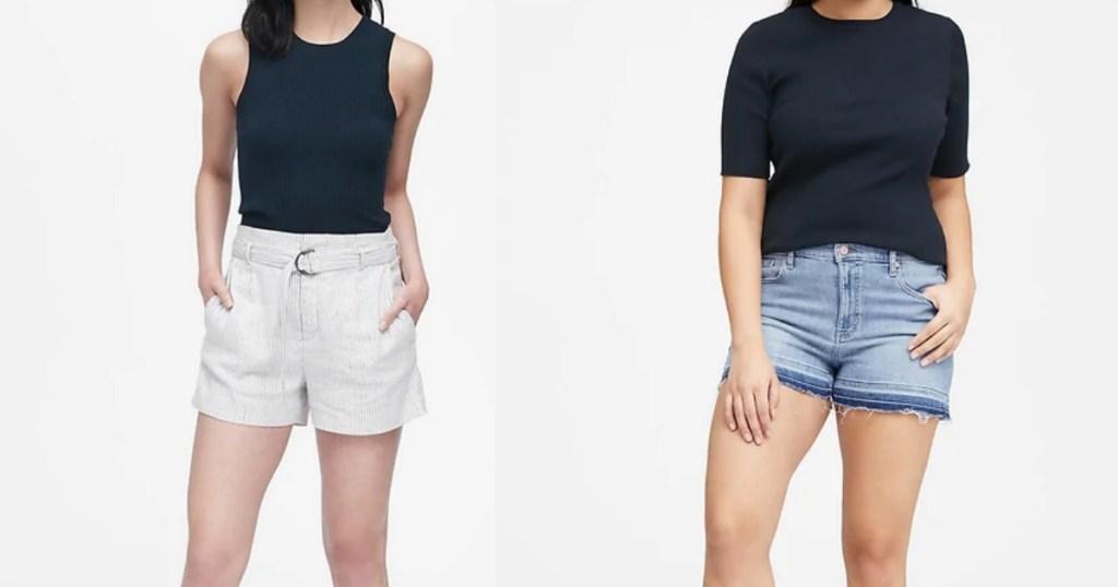 Women modeling Banana Republic shorts