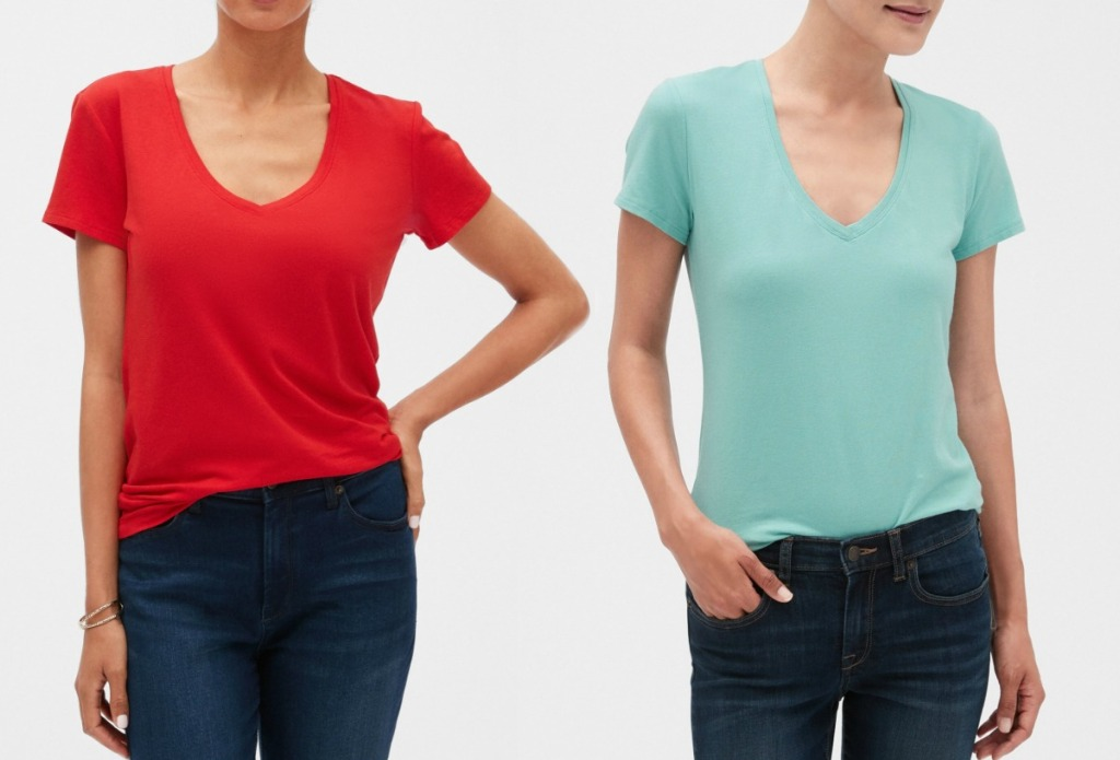 Two women wearing Banana Republic Tees, one in red one in teal