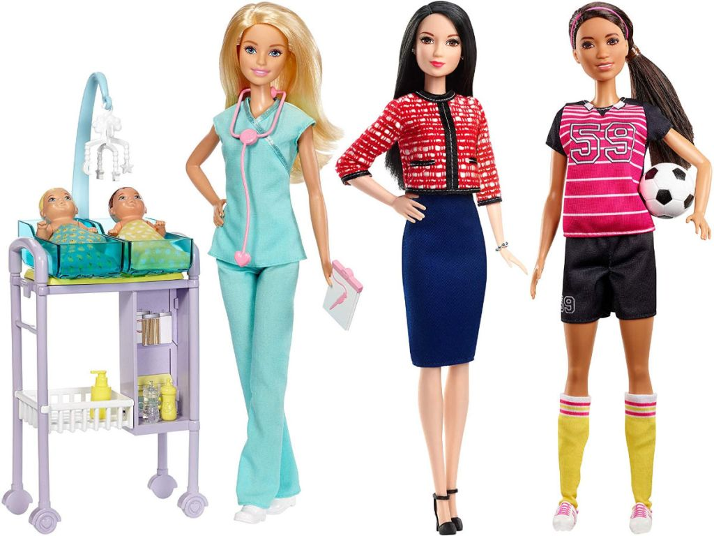 barbie baby doctor, presidential candidate, and soccer player