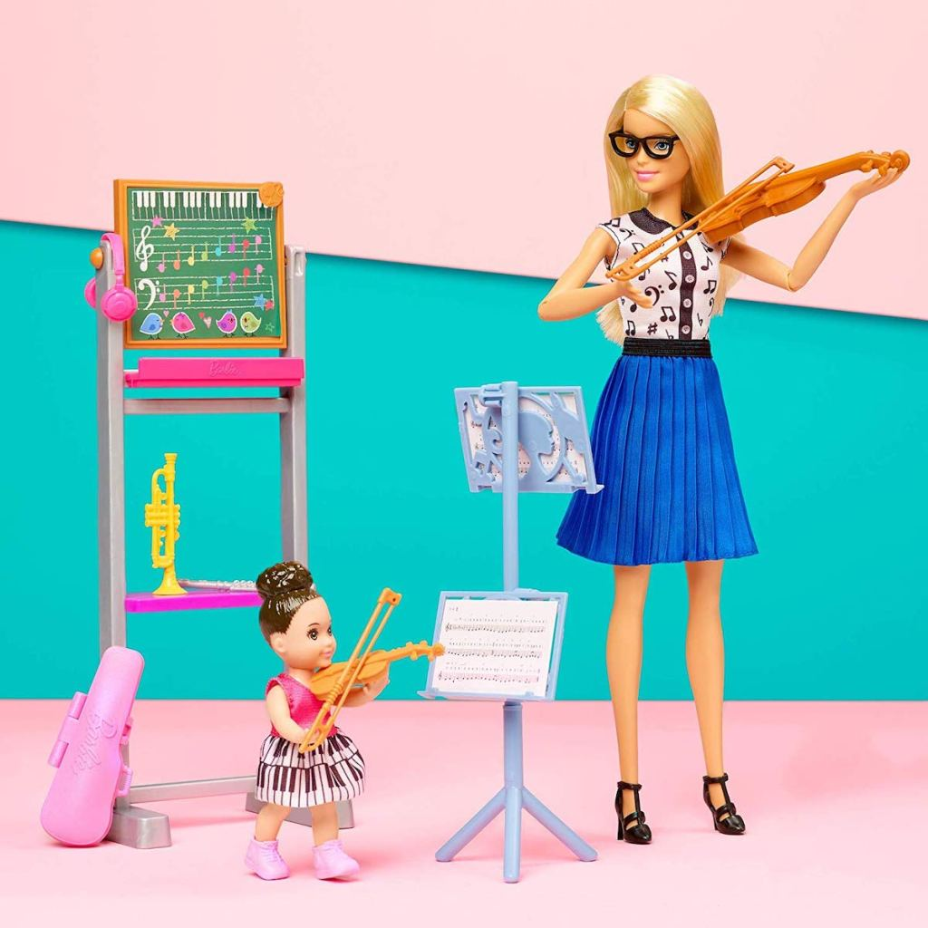 Barbie Music Teacher Doll playing violin with child doll