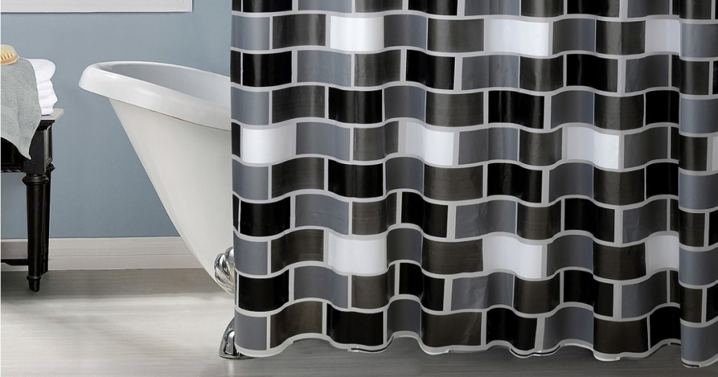 black and white shower curtain in bathroom