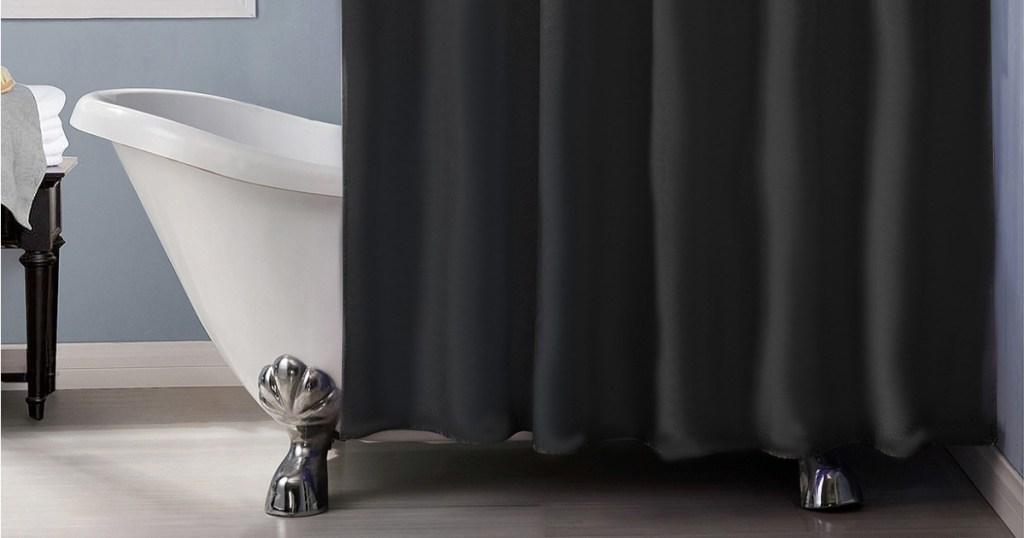 black shower liner in bathroom