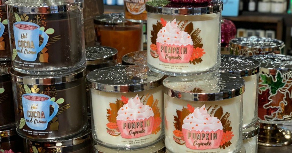 Stack of Fall scented Bath & Body Works Candles in store