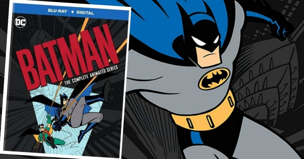 Batman animated series cover over a picture of Batman