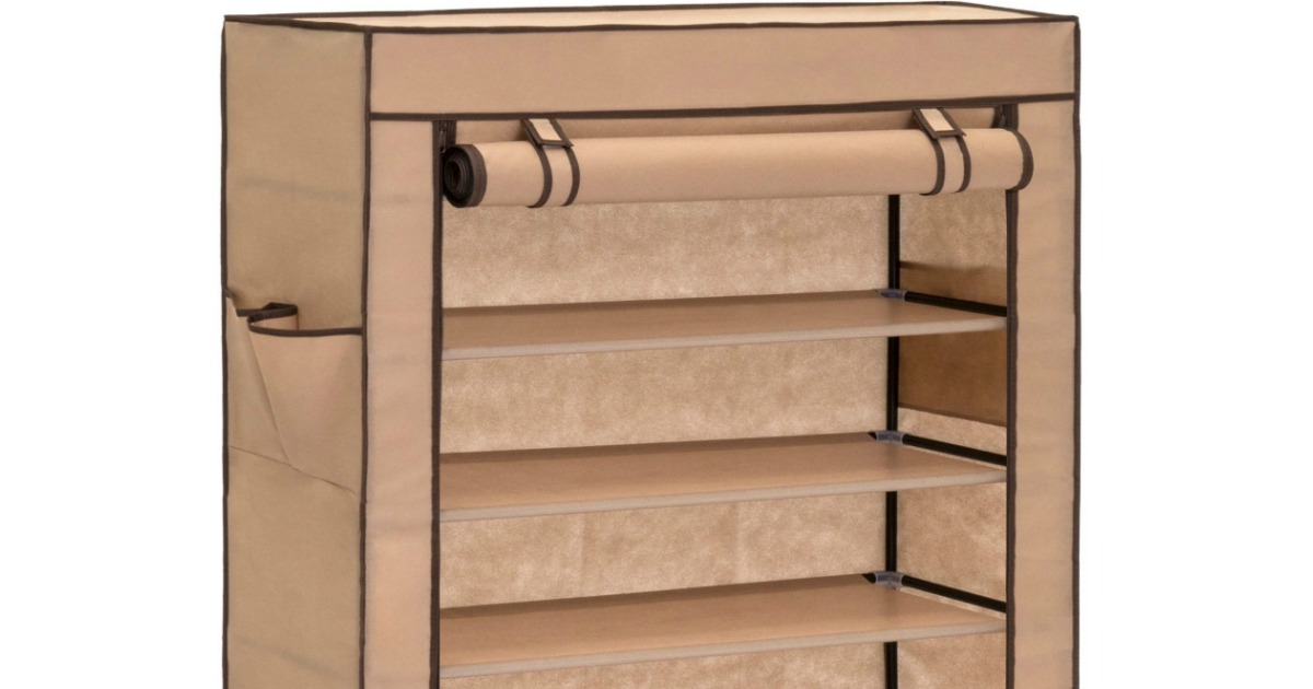 close up of a shoe cabinet with a roll-down front cover