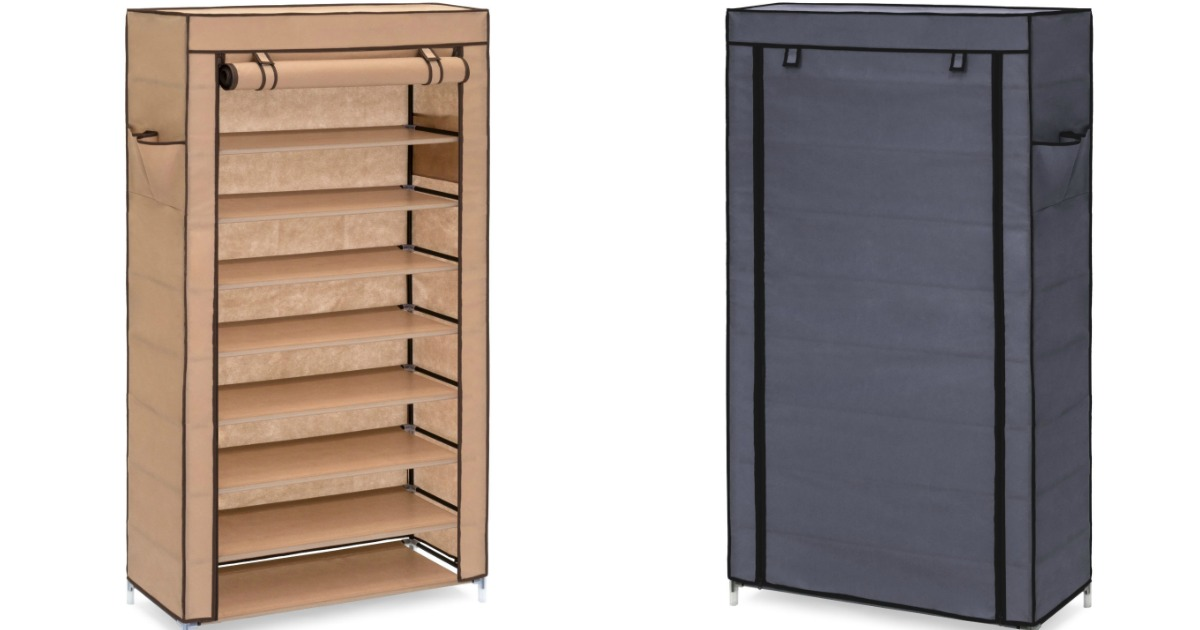 two 9-tier shoe storage racks, one open, one closed