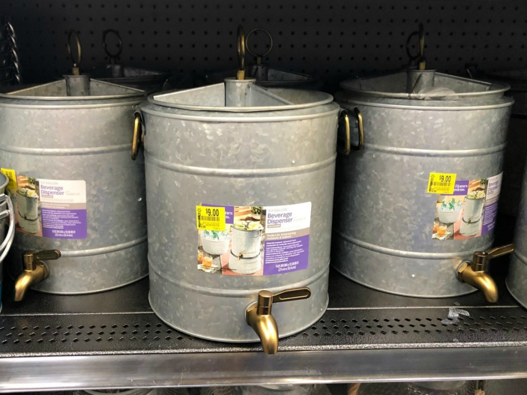 galvanized beverage dispenser on store shelf
