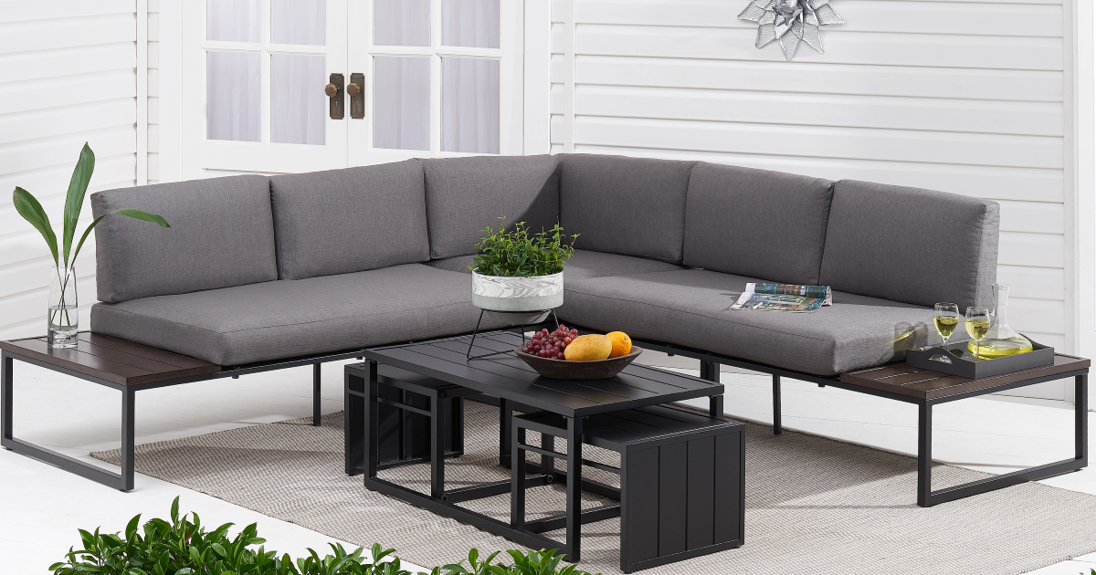 Better Homes & Gardens Kolton 3-Piece Patio Sectional Set with Gray Cushions on patio