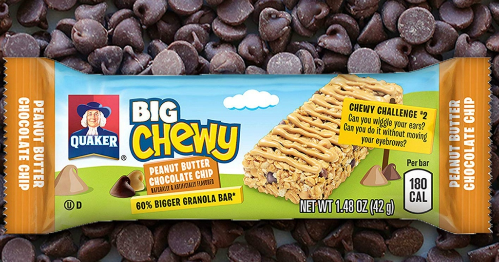Single quaker granola bar on a pile of chocolate chips
