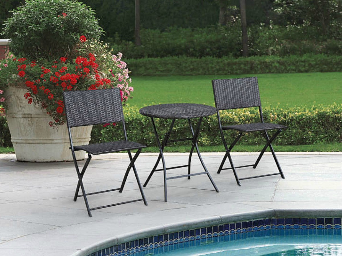 brown wicker patio bistro table and chairs set