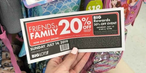 20% Off Entire Big Lots Purchase (In-Store & Online) – July 13th & 14th Only