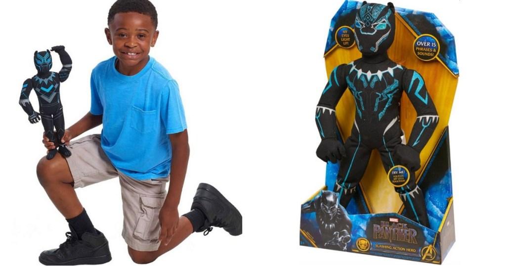Boy holding Black Panther Plush next to Black Panther Plush in box