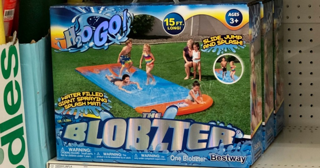 Blobzter water slide box on shelf at Target