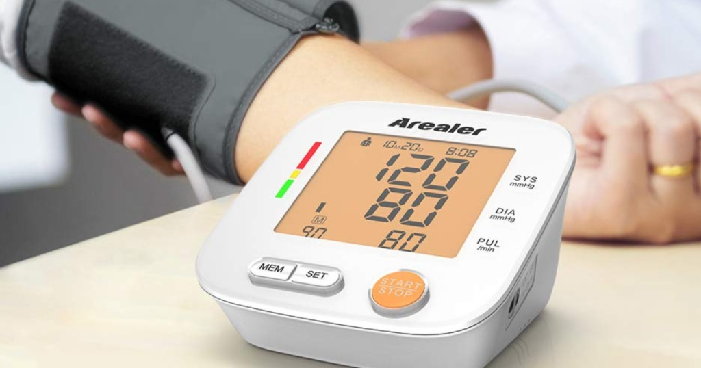 Blood Pressure Monitor around a lady's arm