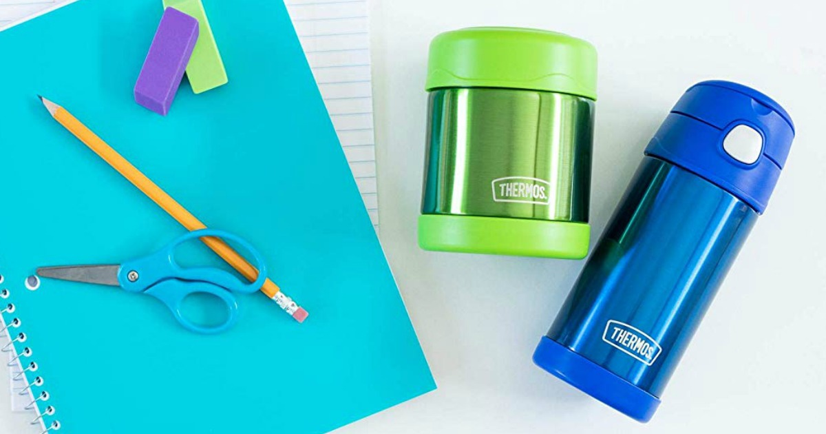 Blue stainless steel Thermos bottle with green food jar and school supplies
