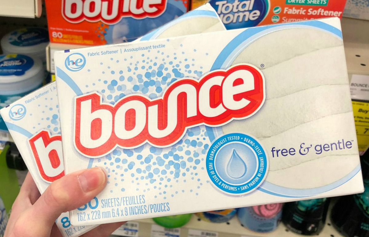 Box of bounce dryer sheets in hand in store