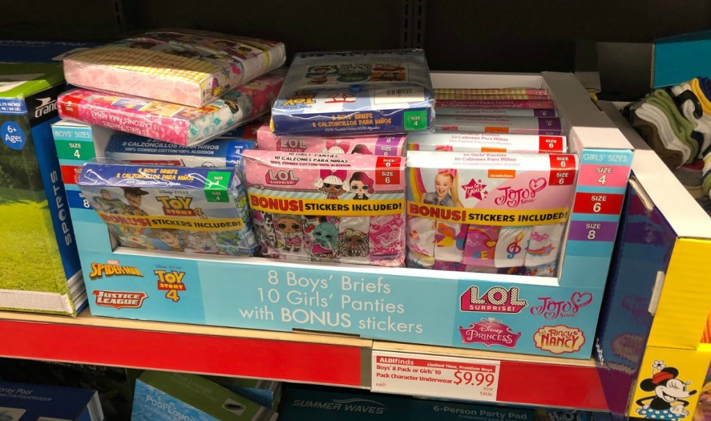 Boys briefs and girls panties licensed characters themed at ALDI