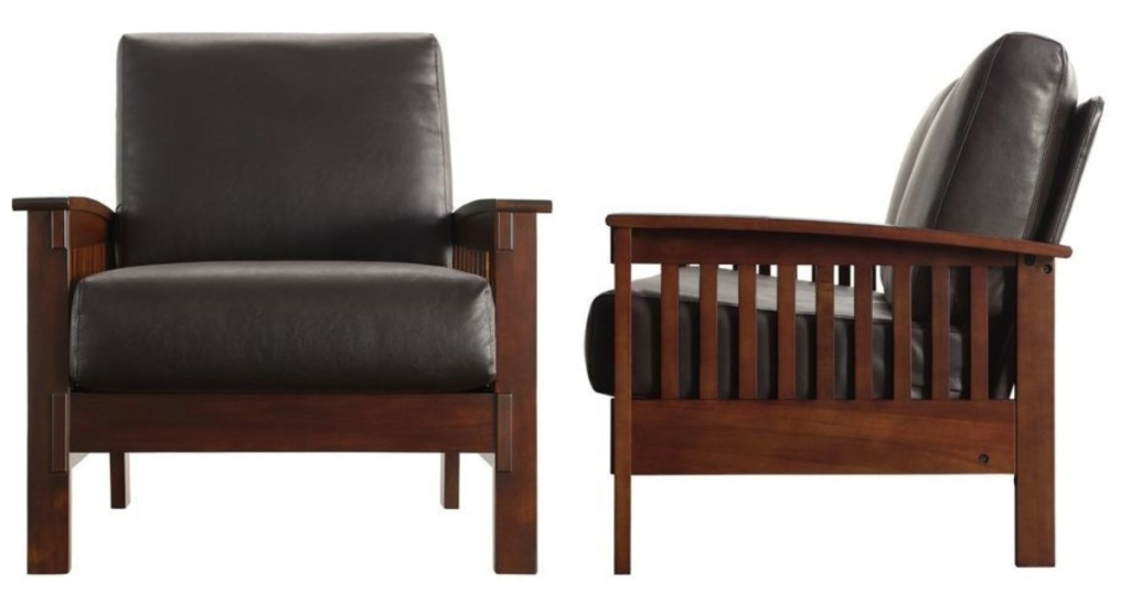 front and side angle of brown arm chair