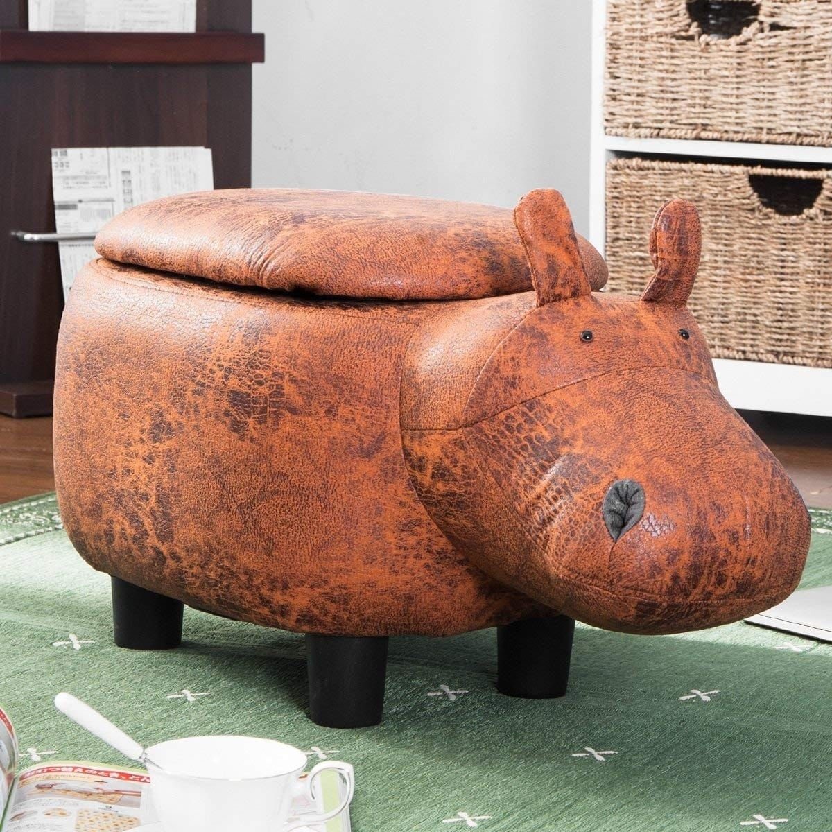 Brown Hippo Animal Storage Ottoman Footrest Stool in room on green carpet