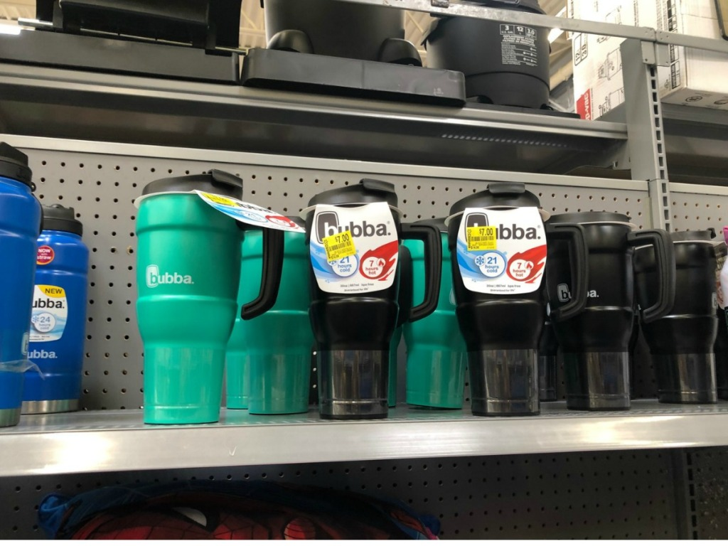 store shelf with green and black bubba cups