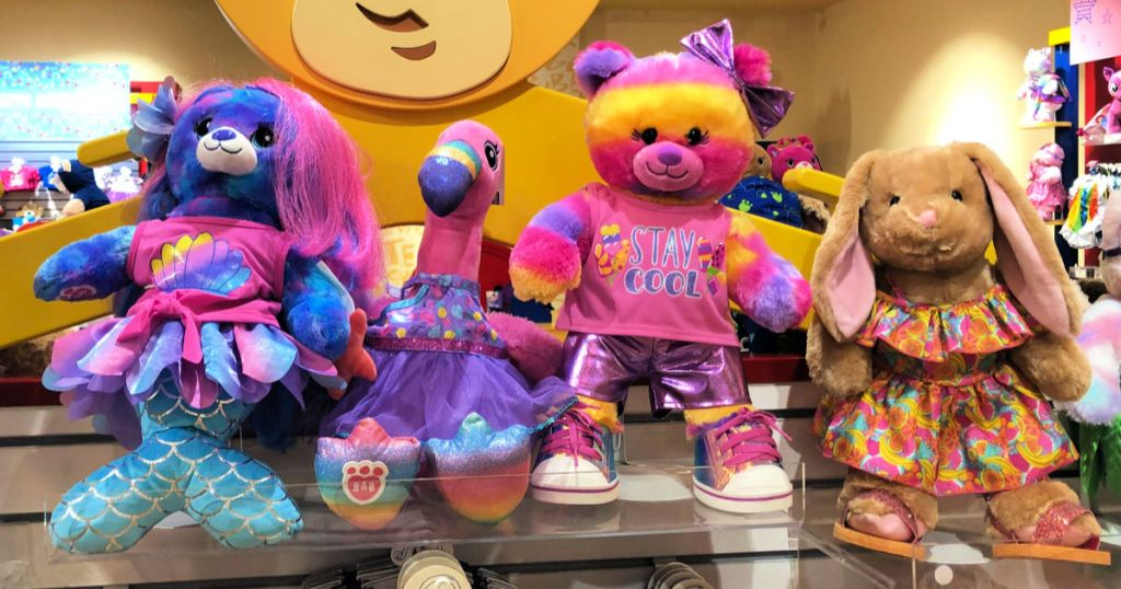 Build-A-Bear Mer-Bear, flamingo, and bears in store