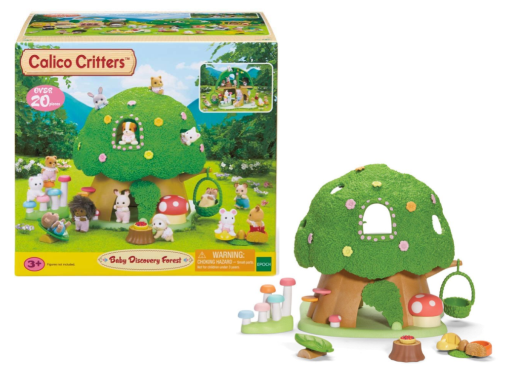 Calico Critter Baby Discovery Forest Play Set in manufacturing packaging and product open for detail