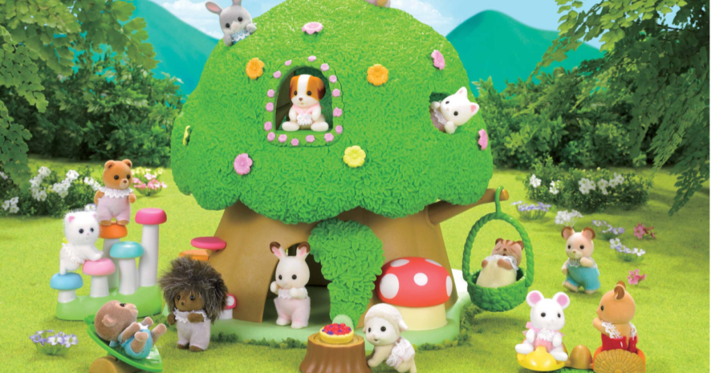 Calico Critters Baby Discovery Forest Play scene with critters