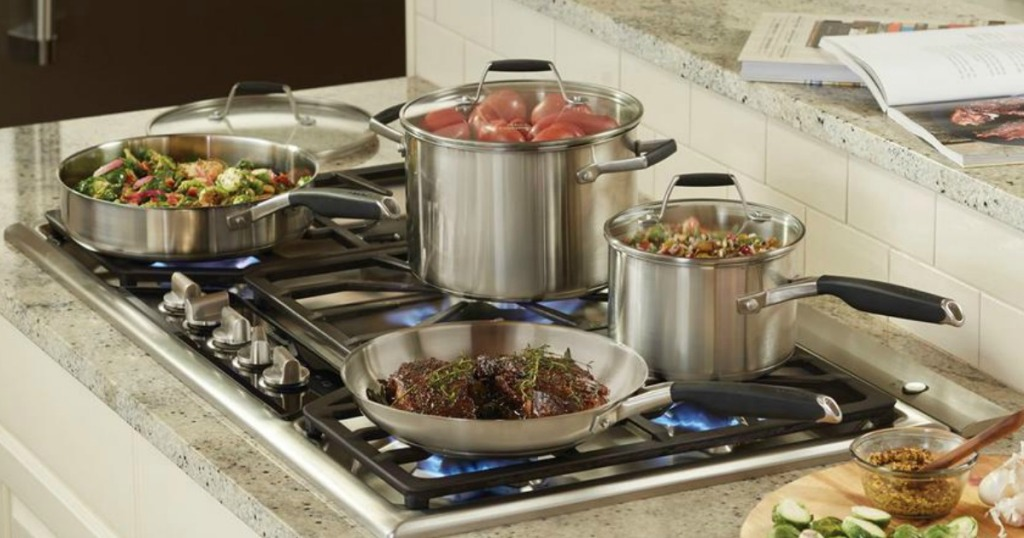 Calphalon Select Pans arranged on stove