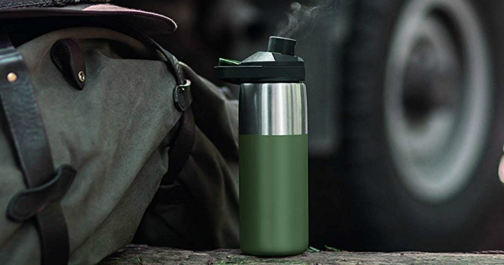 Camelbak Flask next to backpack