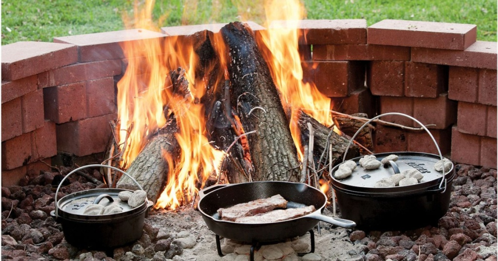 cast iron skillets in fire outside