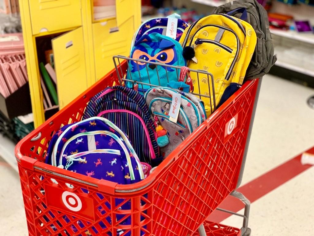 Cat & Jack Backpacks in Target Cart