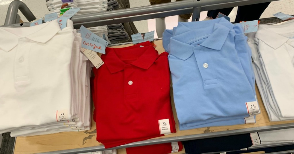 white, red and blue cat & jack uniform polos