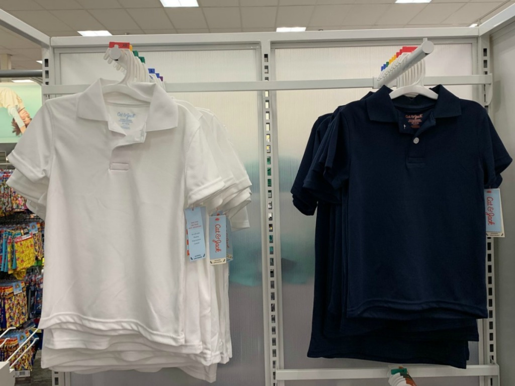 Cat & Jack Short Sleeve Pique Uniform Polo Shirt 2-Pack hanging up in the store