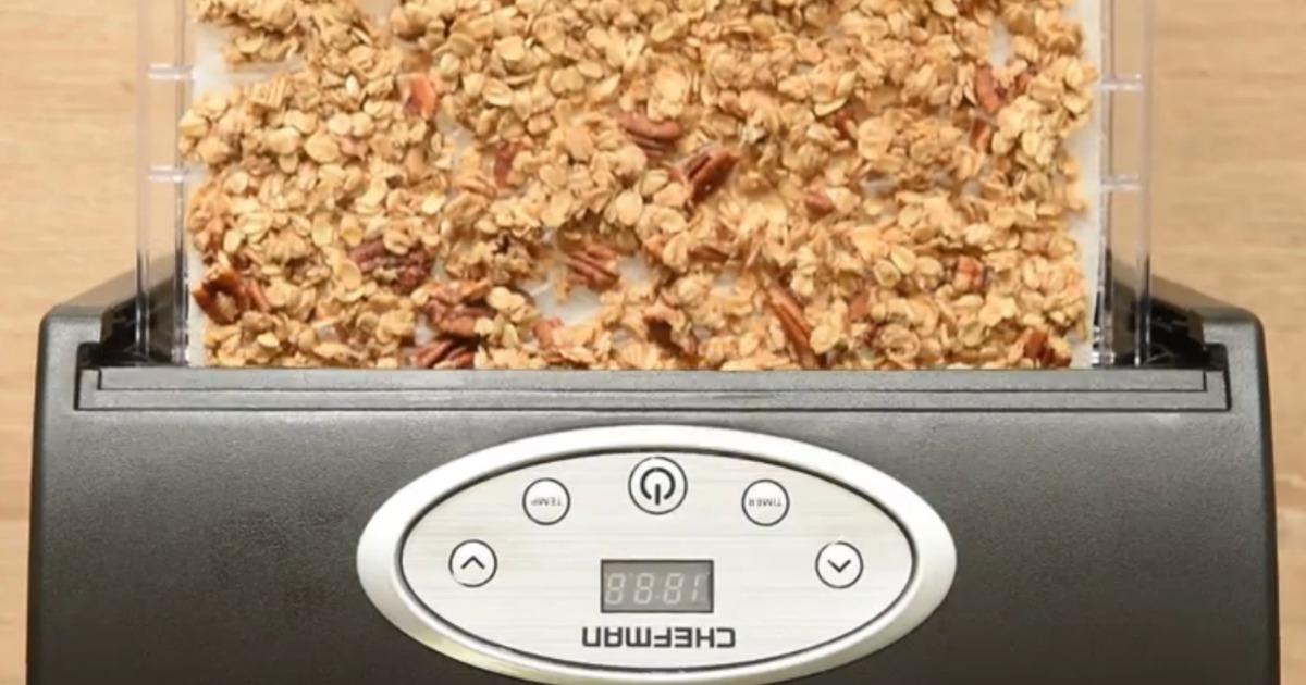 Chefman food dehydrator with food on tray