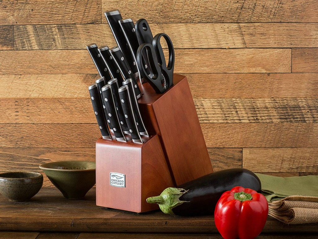 brown knife set with chicago cutlery logo on front and wood background