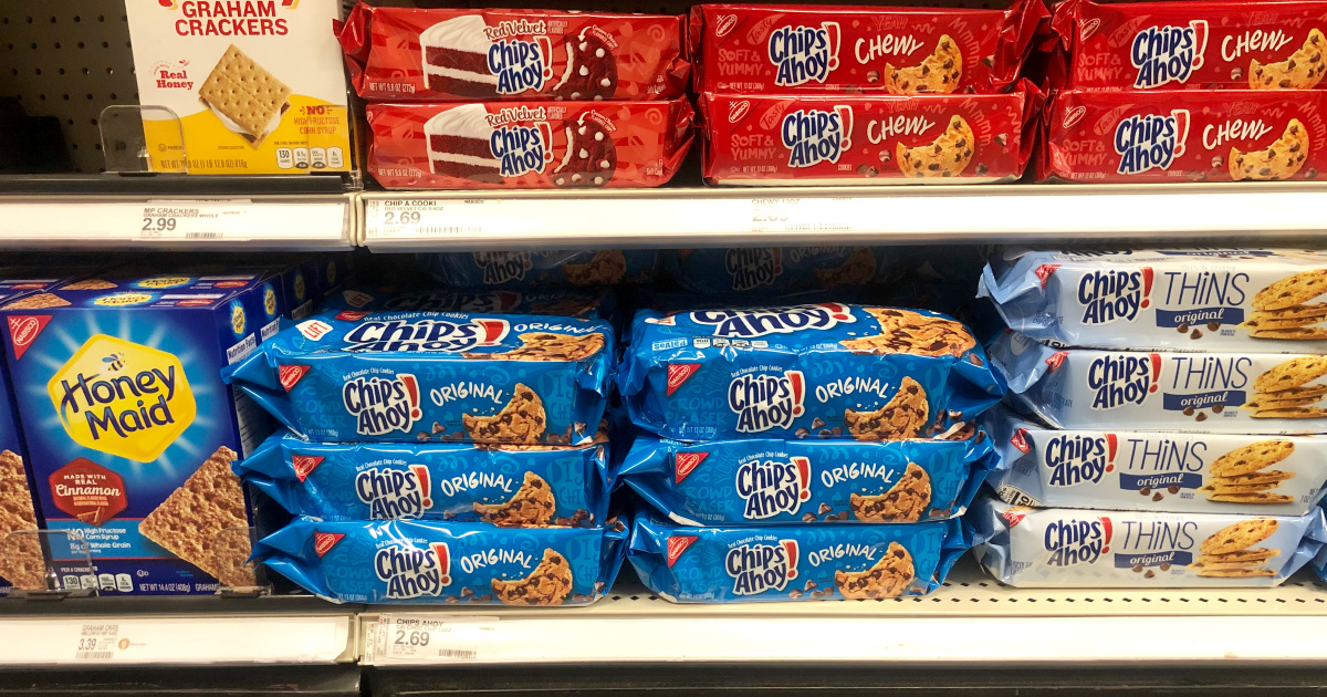 chips ahoy cookies packages on a shelf at target