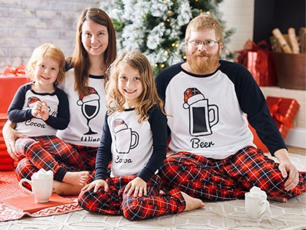 family wearing christmas drinks Pajamas