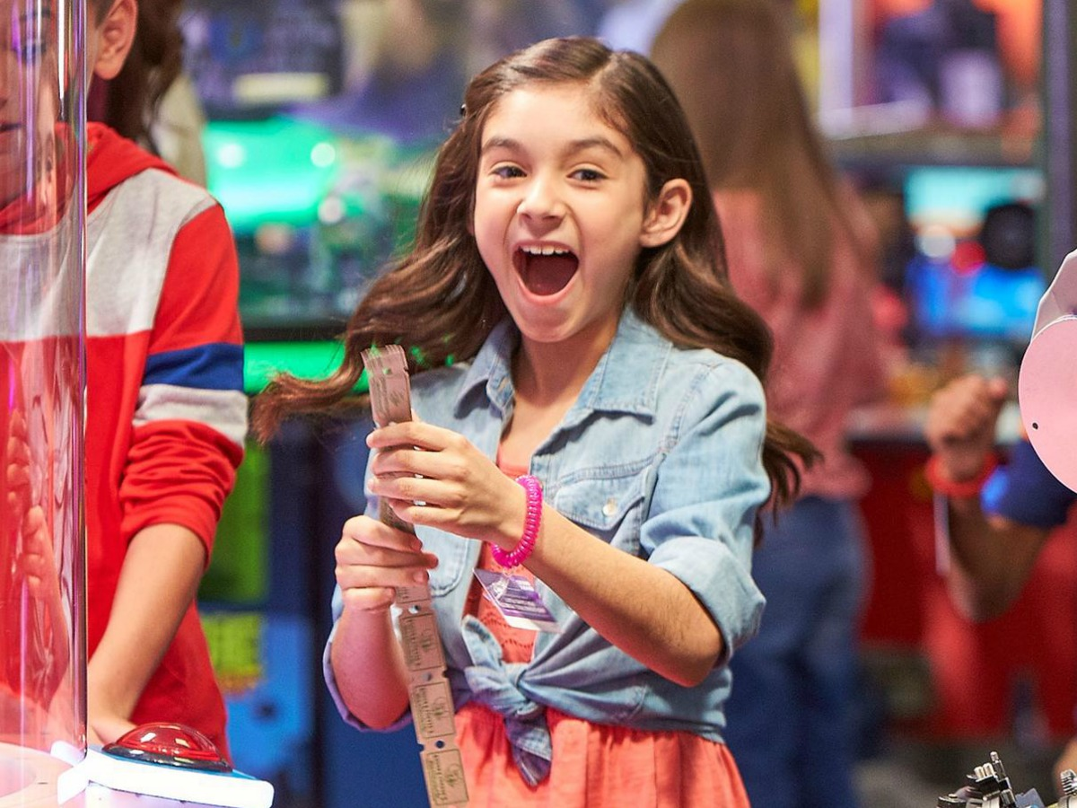 girl with tickets at Chuck E. Cheese's